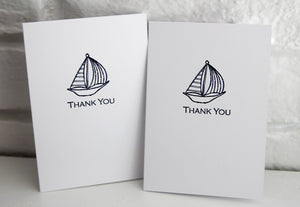 Blue Sailboat Thank You Note Card Set, Baby Shower Thanks, Nautical Thank You Cards