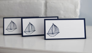 Sailboat Baby Shower Place Cards, Nautical Wedding Escort Cards, Food Tents