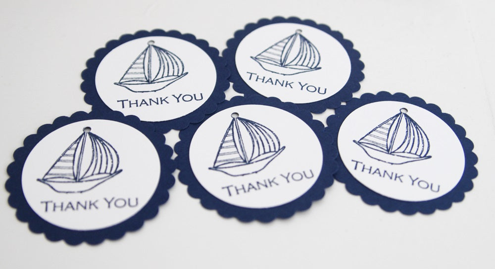Blue Sailboat Baby Shower Thank You Gift Tags Set Nautical Wedding