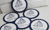 Blue Sailboat Baby Shower Thank You Gift Tags Set, Nautical Wedding Favor Tags