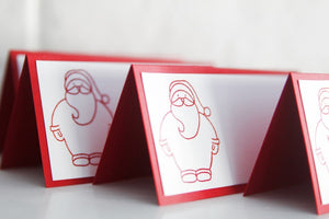 Santa Claus Christmas Place Card Set, Holiday Party Place Cards and Food Tents