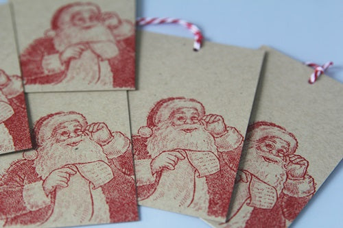 Merry Christmas Santa Gift Tag Set, Christmas Party Favor Gift Tags, Kraft Holiday Tags
