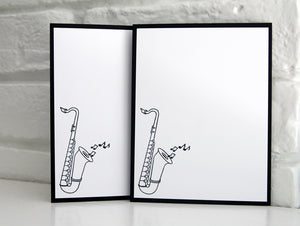 Saxophone Note Card Set, Music Stationery for Musicians