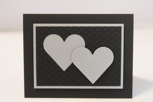 Sliver Anniversary Love Note Card, Double Heart Wedding Greeting Card