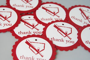 Baseball Bat and Diamond Thank You Gift Tag Set, Sports Party Favor Tags