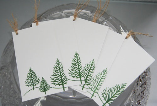 Evergreen Tree Christmas Gift Tag Set for Gifts, Food and Wine Bottles
