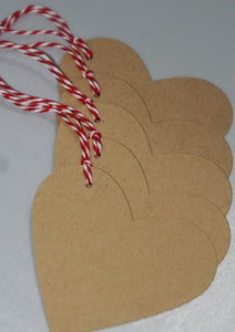 Kraft Heart Valentine's Day Gift Tags, Party Favor Tags, Party Decorations