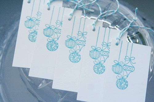 Turquoise Christmas Ornament Party Favor Gift Tags for Presents, Food and Hostess Gifts