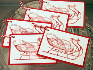 Christmas Sleigh Holiday Party Gift Tags, Christmas Favor, Treat and Cookie Swap Tags