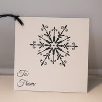 Snowflake Christmas Present To From Gift Tag Set, Navy Blue Holiday Party Gift Tags, Food and Wine Gift Tags