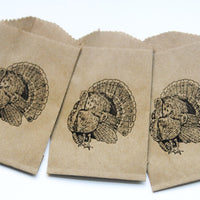 Thanksgiving Turkey Candy Favor Bags, Dinner Guest Place Cards, Candy Buffet Paper Bags