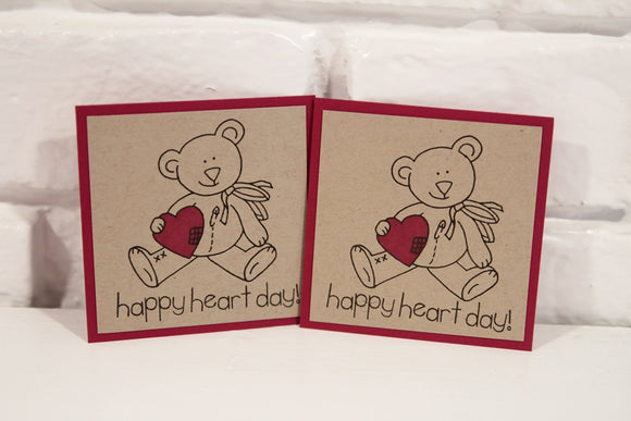 Happy Heart Day Valentine's Bear Mini Card Set, Classroom Valentine Cards, Heart Party Mini Cards