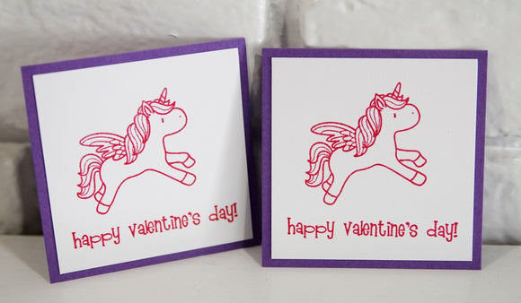 Pink Unicorn Valentine's Day Mini Card Set, Magical Classroom School Valentine Cards