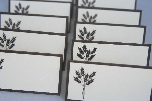 Wheat Stalk Place Card Set for Thanksgiving, Weddings, Showers, Wheat Food Tents