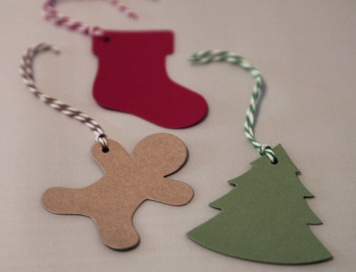 Christmas Gift Tags Set with Stockings, Gingerbread Men and Christmas Trees, Christmas Wrap, Wine Tags