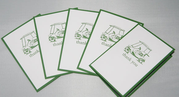 Golf Cart Thank You Note Card Set Golf Masculine Stationery Notes