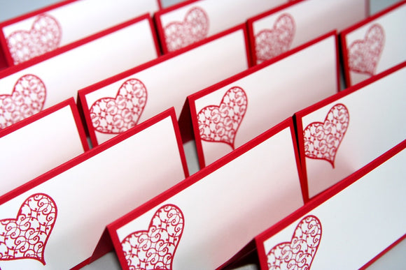 Delicate Hearts Wedding Place Cards, Filigree Heart Escort Cards Food Tents