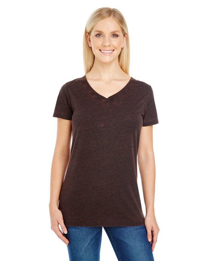Threadfast Ladies' Cross Dye Short-Sleeve V-Neck - 215B - FLAME - ENDS MONDAY OVERNIGHT - READY TO SHIP FRIDAY