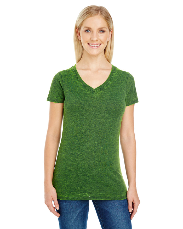Threadfast Ladies' Cross Dye Short-Sleeve V-Neck - 215B - EMERALD - ENDS MONDAY OVERNIGHT - READY TO SHIP FRIDAY