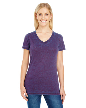 Threadfast Ladies' Cross Dye Short-Sleeve V-Neck - 215B - BERRY - ENDS MONDAY OVERNIGHT - READY TO SHIP FRIDAY