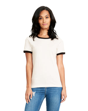 Next Level Ladies' Ringer T-Shirt - 3904 - WHITE/BLACK - ENDS Monday night - Ready to ship Friday