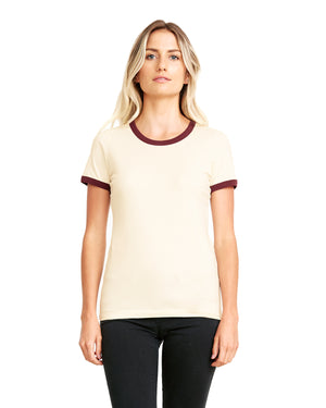 Next Level Ladies' Ringer T-Shirt - 3904 - NATURAL/MAROON - ENDS Monday night - Ready to ship Friday