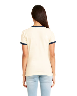 Next Level Ladies' Ringer T-Shirt - 3904 - NATURAL/NAVY - ENDS Monday night - Ready to ship Friday