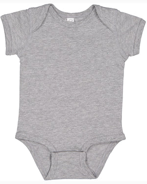 Rabbit Skins Fine Jersey Bodysuit - 4424 - HEATHER GREY - Ends Monday Overnight - Ready to ship Friday