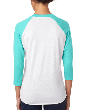 Next Level Unisex Raglan - 6051 - T BLUE/ HTHR WHT - ENDS Monday night - Ready to ship Friday