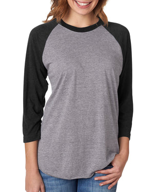 Next Level Unisex Raglan - 6051 - VIN BLK/ PR HTHR - ENDS Monday night - Ready to ship Friday