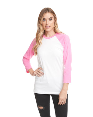 Next Level Unisex Raglan - 6251 PINK/WHITE - ENDS Monday night - Ready to ship Friday