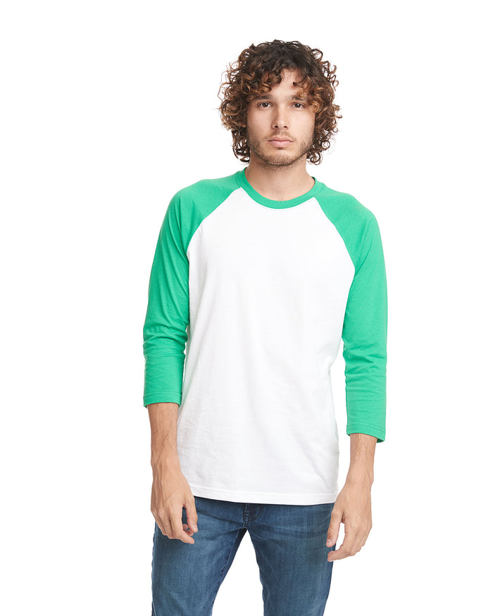 Next Level Unisex Raglan - 6251 KELLY GREEN/WHITE - ENDS Monday night - Ready to ship Friday