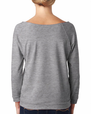 Next Level Ladies' French Terry 3/4-Sleeve Raglan - 6951 - HEATHER GREY - ENDS Monday night - Ready to ship Friday