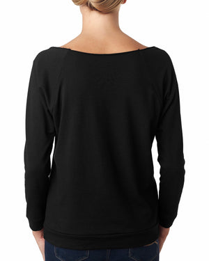 Next Level Ladies' French Terry 3/4-Sleeve Raglan - 6951 - BLACK - ENDS Monday night - Ready to ship Friday