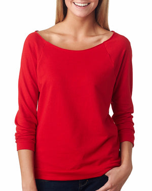 Next Level Ladies' French Terry 3/4-Sleeve Raglan - 6951 - RED - ENDS Monday night - Ready to ship Friday