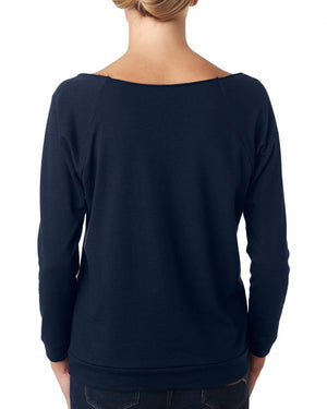 Next Level Ladies' French Terry 3/4-Sleeve Raglan - 6951 - NAVY - ENDS Monday night - Ready to ship Friday