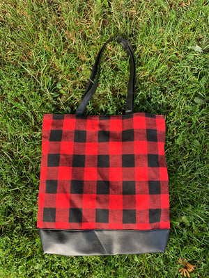 Buffalo plaid tote bag - extras