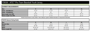 ATC PROTEAM BASEBALL YOUTH JERSEY - Y3526 - White/Coal Grey - Ends Monday Overnight - Ready to Ship Friday