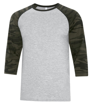 ATC Eurospun Ring Spun Baseball Tee - ATC0822 - Athletic Grey/Black Camo - Ends Monday Overnight - Ready to ship Friday