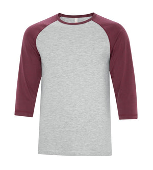 ATC Eurospun Ring Spun Baseball Tee - ATC0822 -  Athletic Grey/Cardinal Heather - Ends Monday Overnight - Ready to ship Friday
