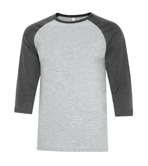 ATC Eurospun Ring Spun Baseball Tee - ATC0822 -  Athletic Grey/Charcoal Heather - Ends Monday Overnight - Ready to ship Friday
