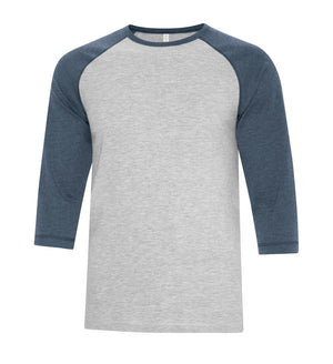 ATC Eurospun Ring Spun Baseball Tee - ATC0822 -  Athletic Grey/Navy Heather - Ends Monday Overnight - Ready to ship Friday