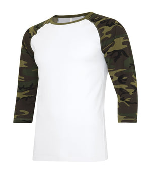 ATC Eurospun Ring Spun Baseball Tee - ATC0822 -  White/Camo - Ends Monday Overnight - Ready to ship Friday