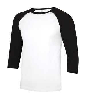 ATC Eurospun Ring Spun Baseball Tee - ATC0822 -  White/Black - Ends Monday Overnight - Ready to ship Friday