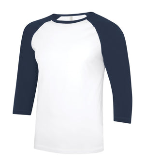 ATC Eurospun Ring Spun Baseball Tee - ATC0822 -  White/True Navy - Ends Monday Overnight - Ready to ship Friday