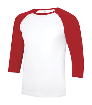 ATC Eurospun Ring Spun Baseball Tee - ATC0822 -  White/True Red - Ends Monday Overnight - Ready to ship Friday