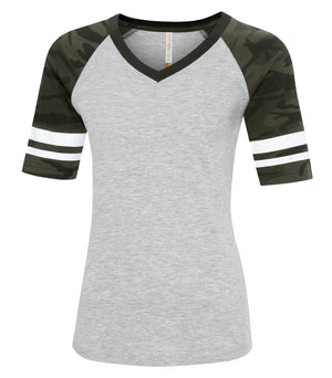 ATC EUROSPUN BASEBALL LADIES' TEE - ATC0822L - Athletic Grey/Black Camo - Ends Monday Overnight - Ready to ship Friday
