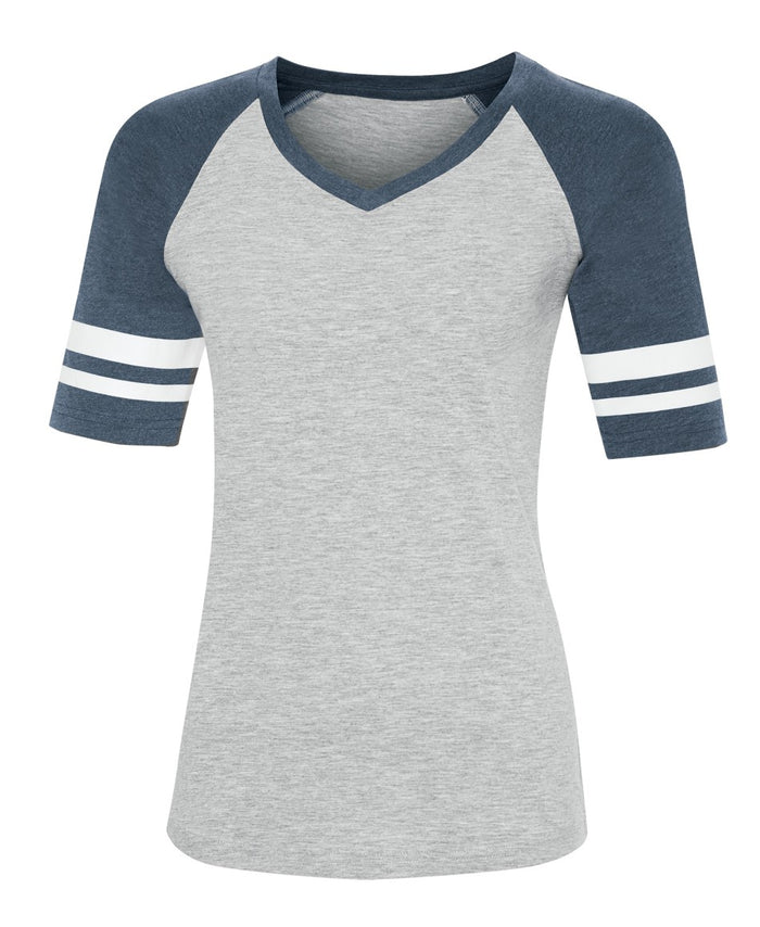 ATC EUROSPUN BASEBALL LADIES' TEE - ATC0822L - Athletic Grey/Navy Heather - Ends Monday Overnight - Ready to ship Friday