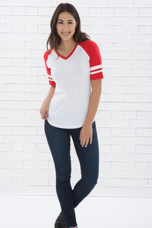 ATC EUROSPUN BASEBALL LADIES' TEE - ATC0822L - Athletic Grey/Cardinal Heather - Ends Monday Overnight - Ready to ship Friday