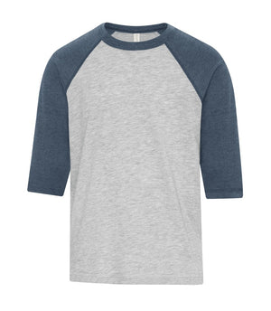 ATC EUROSPUN BASEBALL YOUTH TEE - ATC0822Y - Athletic Grey/Navy Heather - Ends Monday Overnight - Ready to ship Friday